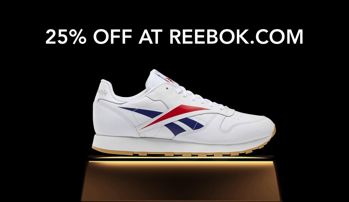 Take 25 off reebok banner - classic shoe